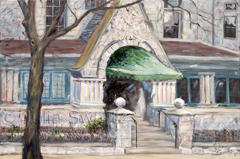 A landscape oil painting of the Hamilton Club Entrance in Lancaster PA