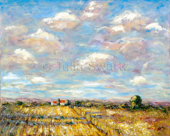 A landscape oil painting on canvas of fall corn fields and beautiful sky by Julia Swartz.