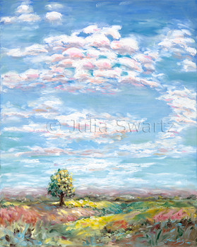 An oil painting of beautiful clouds in the sky, rolling hills and a lone tree by Julia Swartz.