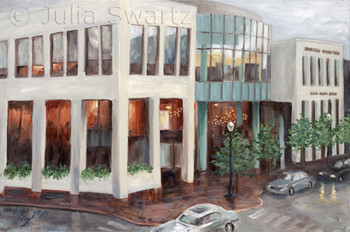 A landscape oil painting of The Ware Center, also known as Millersville University.