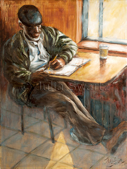 A figure portrait oil painting on canvas of a black man in a coffee shop busy writing.