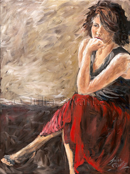 This oil painting of Leah is filled with broad, dynamic strokes, and Julia particularly loved the leg extending out into the sunlight.