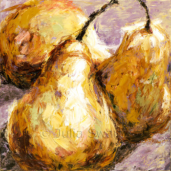 A still life, impressionist, close up oil painting on canvas of three pears using a palette knife by Julia Swartz.