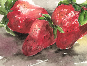 A still-life watercolor painting of Three Strawberries by Julia Swartz.