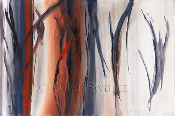 An abstract oil painting, Timberline, by Julia Swartz, Lancaster PA