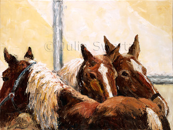 An oil painting of three Amish work horses.