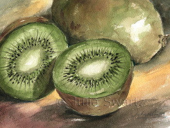 This still-life watercolor painting of Two Kiwi is one of several small watercolors of fruit by Julia Swartz.