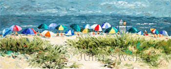 Umbrellas on the beach at Ocean City New Jersey by Julia Swartz