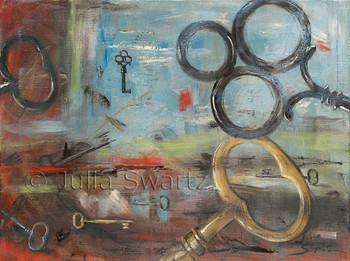 An Original Abstract oil paintings of Keys by Julia Swartz.