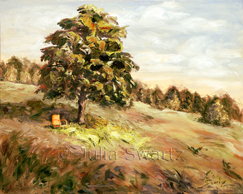 An oil painting of an old metal orange chair beside a tree in a secluded spot.