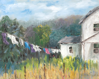 Am impressionism oil painting of Amish clothes hanging to dry on a wash line by Julia Swartz, Lancaster PA