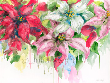 An impressionistic watercolor with ink painting of Poinsettia flowers by Julia Swartz, Lancaster PA
