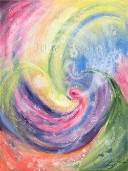 An Original Abstract Oil painting rainbow colors by Julia Swartz.