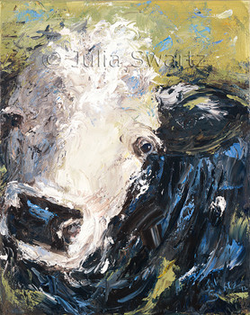 A close up impressionism oil painting of a the face of a cow by Julia Swartz.