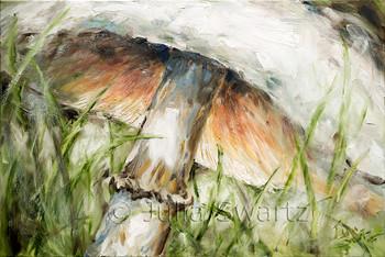 White mushroom oil painting on canvas by Julia Swartz