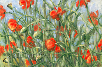 An impressionist oil painting of Red orange poppies blowing in the wind by Julia Swartz Lancaster PA