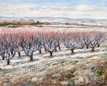 An oil painting of a peach orchard in the winter by Julia Swartz.