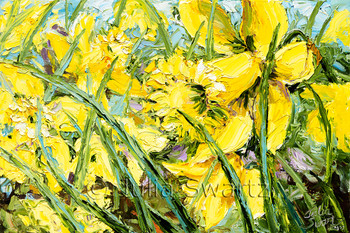 A Impressionistic Palette knife oil painting of Yellow  daffodils by Julia Swartz.