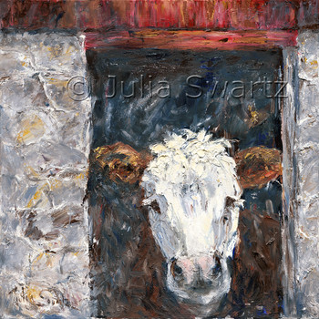 Impressionistic oil painting on canvas of a Hereford Cow looking out a barn door window by Julia Swartz
