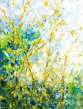 Aan impressionistic oil painting on canvas of Yellow Forsythia by  Julia Swartz