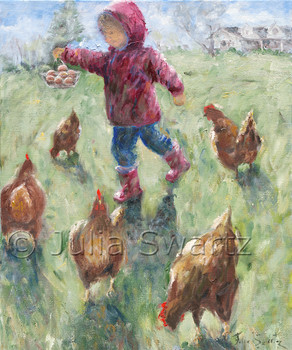 An impressionistic of a young girl with a basket of eggs surrounded chickens by Julia Swartz.