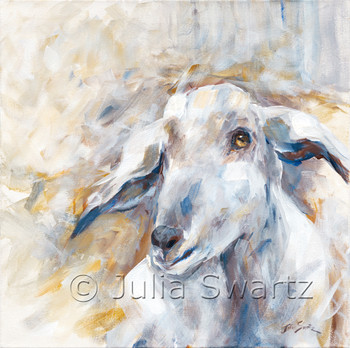 An impressionistic acrylic  painting on canvas of a goat by Julia Swartz.
