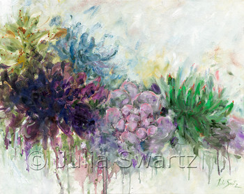 An impressionistic oil paint on canvas of Succulents  by Julia Swartz.