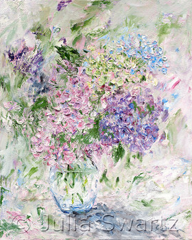 An impressionistic oil paint of pink and blue Hydrangeas on canvas by Julia Swartz.