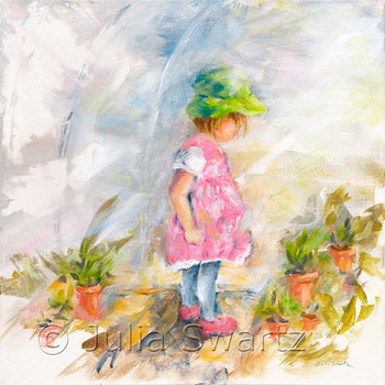 An original impressionistic painting of my Grand-daughter helping me in my greenhouse.