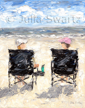 An impressionistic oil painting of two ladies on beach chairs sitting on the beach by Julia Swartz.