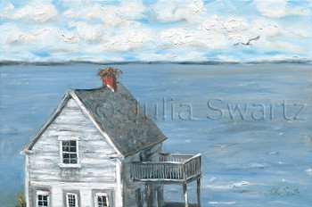 An impressionistic oil painting of a Osprey nest on the chimney of an old house by the Chesapeake Bay eastern shore Maryland by Julia Swartz.