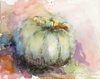 Green Pumpkin watercolor painting on stretched canvas by Julia Swartz