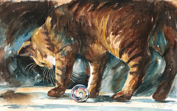 A watercolor paintings of a cat playing with a marble by artist Julia Swartz