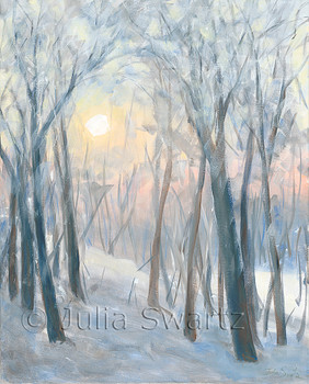 An impressionistic acrylic painting on canvas of the sunrise shinning though our neighbors trees on a cold fogy frosty winter morning by Julia Swartz