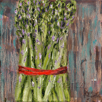 An impressionistic still life oil painting on canvas of a bunch of Asparagus up close by Julia Swartz