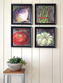 Four veggies, Turnip, Asparagus, Tomato & Squash.