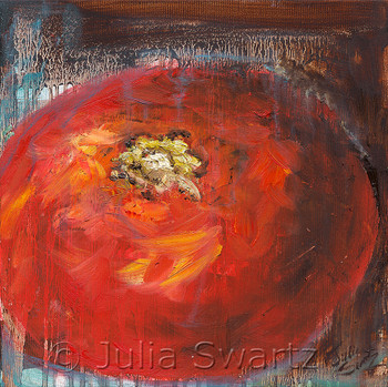 An impressionistic still life oil painting on canvas of one Tomato up close by Julia Swartz