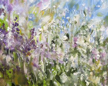 A closeup look at Spring Beauty, an impressionistic oil painting on canvas of a cluster of flowers by Julia Swartz.