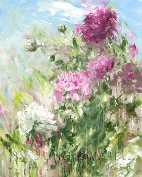 An impressionistic oil painting on canvas of a Peonies flowers by Julia Swartz.