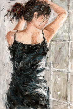 A portrait oil painting of a young lady in a black dress by Julia Swartz.