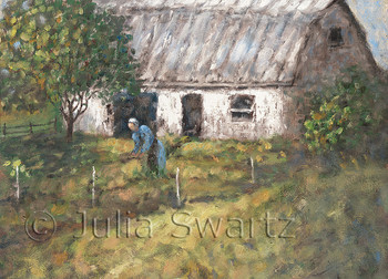 A note card of Amish lady working in her garden by Julia Swartz