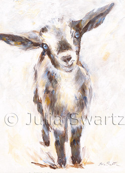 Note card of a baby goat painting by Julia Swartz