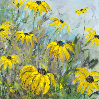 An impressionistic oil painting of Black Eyed Susans, version 2, by Julia Swartz, Lancaster PA