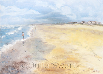 Beach Walk 2 note card at the Outer banks by Julia Swartz