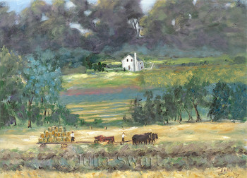 Amish making hay note card