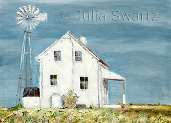 A simple white Amish house with windmill note card