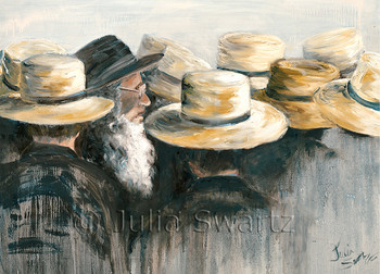 Amish at an auction, all with straw hats except one.