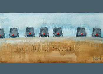 A row of Amish buggy s  parked in a field note card