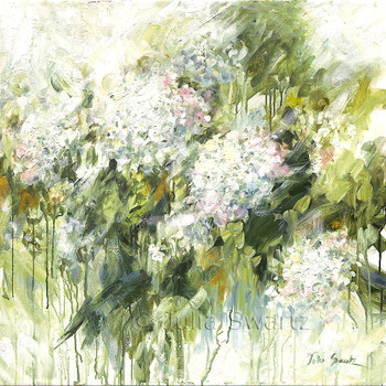 A impressionistic oil painting on canvas of White Hydrangea's by Julia Swartz.