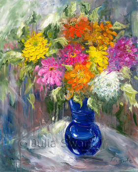 An impressionistic oil painting on canvas of a cluster of Zinnia flowers in a blue vase by Julia Swartz.